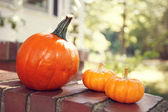 Orange pumpkins by a house with sunshine — Stock Photo