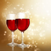 Glasses of Red Wine on Sparkling Golden Background — 图库照片