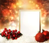 赤い飾り付きのクリスマス カード — ストック写真