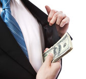 Business Man with Wad of Cash in his Jacket Pocket — Stockfoto
