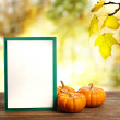 Greeting card with small pumpkins — Stock Photo #33155051
