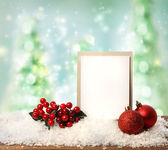 Message card with Christmas ornaments — Stock Photo