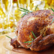 Whole Roasted Chicken on Dinner Table — Zdjęcie stockowe