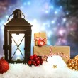Christmas lantern with ornaments and presents — Стоковая фотография