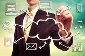 Businessman with cloud computing concept — Stock Photo