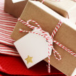 Handmade present boxes with tags — Stok fotoğraf
