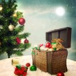 Treasure box filled with Christmas ornaments and presents — Stock Photo