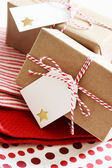 Handmade present boxes with tags — Stock Photo