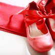 Red shoes with ribbon — Stock Photo #36595713