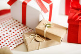 Gift boxes on table — Stock Photo