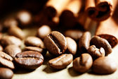 Coffee beans with cinnamon sticks — Photo