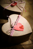Gift boxes with heart tags — Foto Stock