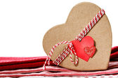 Heart shaped gift box with heart tag — Stock Photo