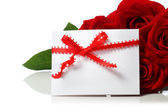 Message card with beautiful red roses — Foto de Stock