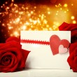 Hearts greeting card with red roses — Stock fotografie #38728715
