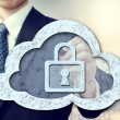 图库照片: Secure online cloud computing concept