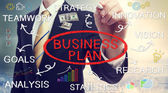 Businessman drawing business plan concepts — Foto de Stock
