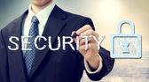 Security key lock with businessman — ストック写真