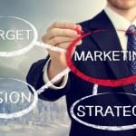 Businessman circling a marketing bubble — Stock Photo