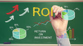 Hand drawing ROI (return on investment) — Stock Photo