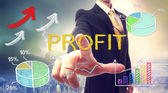 Business man pointing PROFIT — Stock fotografie