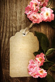 Handmade tag with robin hood roses — Stock Photo