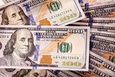 Cash spread of new hundred-dollar bills — Stock Photo