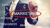 Zakenman tekening marketingdiagram concept — Stockfoto