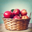 Stock Photo: Red apples in basket