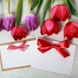 Stock Photo: Tulips with message card