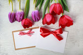Tulips with message card — Stock fotografie