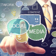 Businessman with social media concepts — Stock Photo