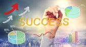 Desenhos animados e texto do conceito de sucesso — Fotografia Stock