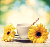 Koffiekopje met gele gerbera 's — Stockfoto