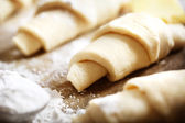Croissants dough freshly prepared for baking   — Zdjęcie stockowe