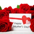 Mothers day message with red roses — Stock Photo
