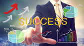Bussinessman pointing at SUCCESS — Foto Stock