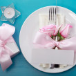 Table setting with pink roses — Stock Photo #43257605