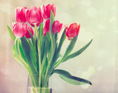 Red tulips in vintage style — Stock Photo
