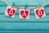 Fathers day message on felt hearts — Stock Photo