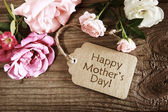 Mothers day card with rustic roses — Stock Photo