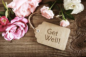 Get well message with roses — Stock Photo