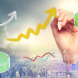 Rising arrows and graphs — Stock Photo