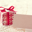 Present boxes and blank message card — Stock Photo #44106429