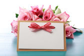 Handmade card with pink roses — Stock Photo