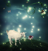 Baby goat in fantasy hilltop with snail and butterflies — Stock Photo