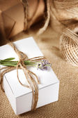 Handmade gift box with lavender sprig — Stockfoto