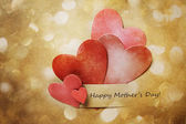 Mothers Day Card with hand-crafted hearts — Stock Photo