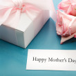 Mothers day card with gift box and roses — Stock Photo #45548859