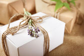 Handmade Gift Box with Lavender Sprig — Stock Photo